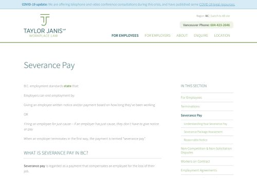 Taylor Janis LLP Vancouver Employment Lawyers